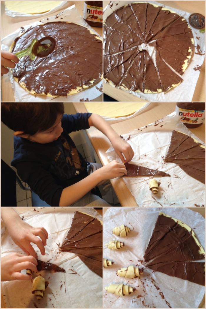 Poi si taglia a spicchi la pastasfoglia (io ho usato una rotella tagliapizza ma va benissimo un coltello).Tagliando prima in 4 parti e poi ogni parte in altri 4 spicchi, si ottengono 16 mini croissant.